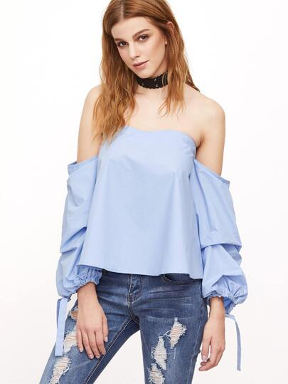 Blue Off The Shoulder Tie Cuff Blouse