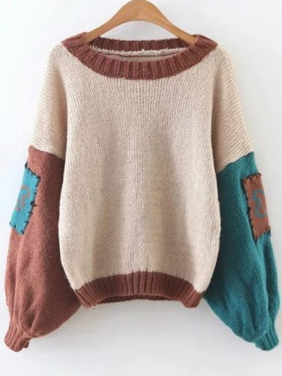 Color Block Elbow Patch Lantern Sleeve Sweater