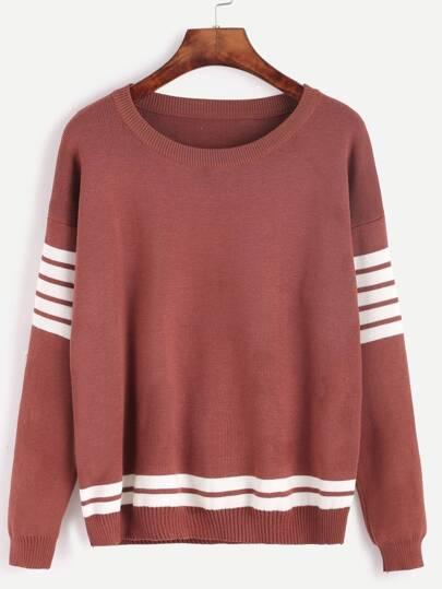 Drop Shoulder Striped Trim Sweater