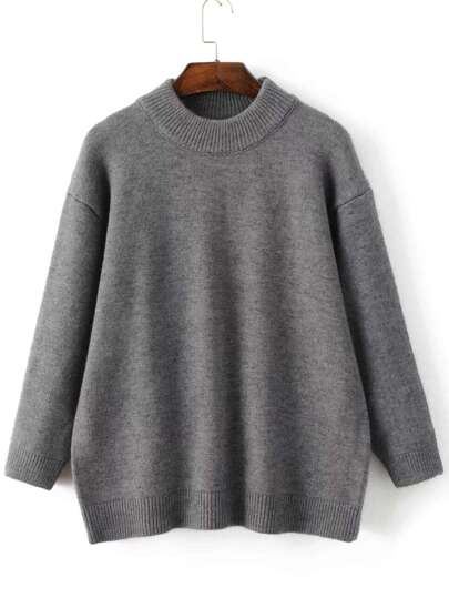 Grey Crew Neck Ribbed Trim Sweater