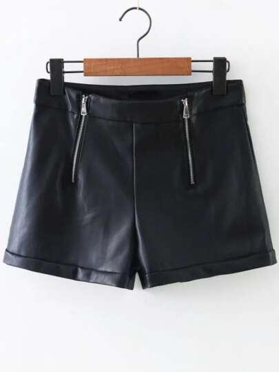 Black Zipper Detail PU Shorts
