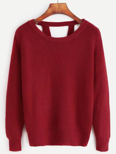 Red Drop Shoulder Cut Out Back Sweater