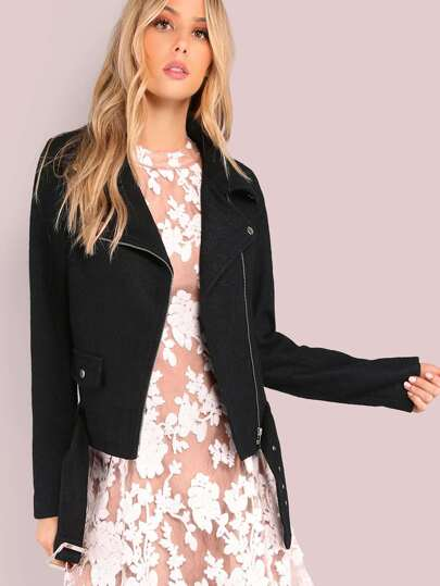 Faux Wool Biker Jacket BLACK