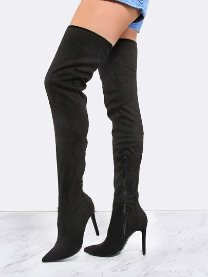 Suede Stiletto Pointed Thigh Boots BLACK
