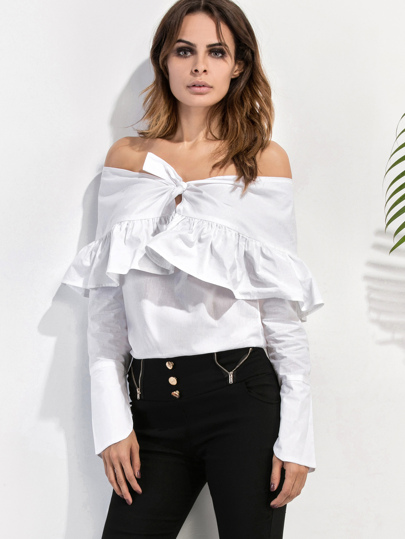 White Off The Shoulder Ruffle Top