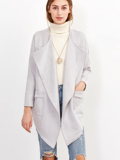Pale Grey Draped Collar Raglan Sleeve Asymmetric Coat
