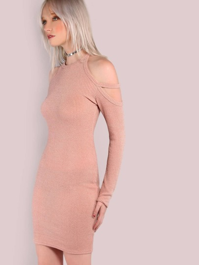 Double Strap Cold Shoulder Sleeved Rib Knit Dress DUSTY PINK
