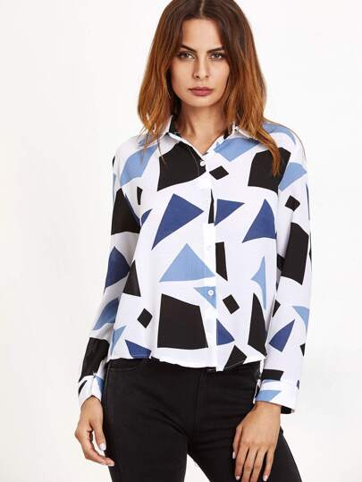 White Patchwork Curved Hem Blouse