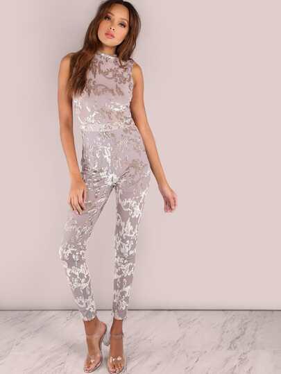 Combi-pantalons collants motif feuille sans manche - argenté