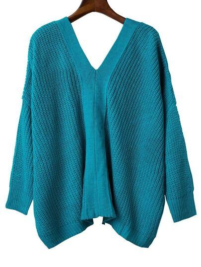 Blue V Neck Lace Up Back Drop Shoulder Sweater
