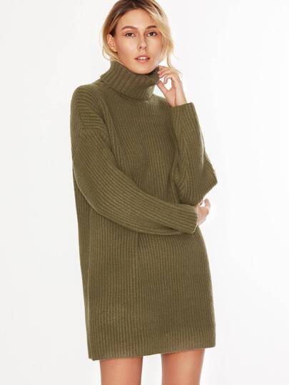 Army Green Turtleneck Drop Shoulder Sweater Dress