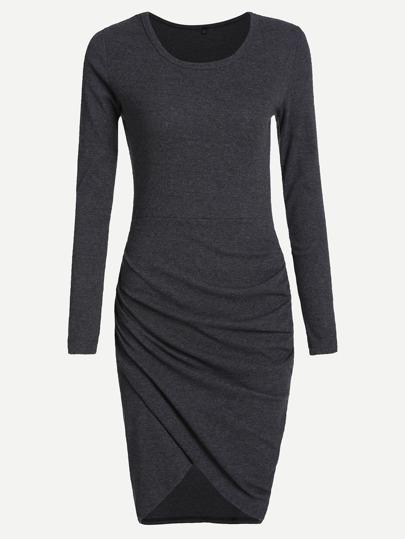 Grey Round Neck Long Sleeve Dress
