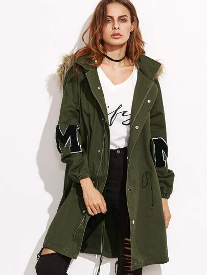 Olive Green Drawstring Utility Coat With Faux Fur Trim Hood