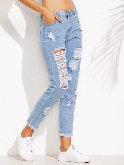Jeans mit zerrissenen Design - blau
