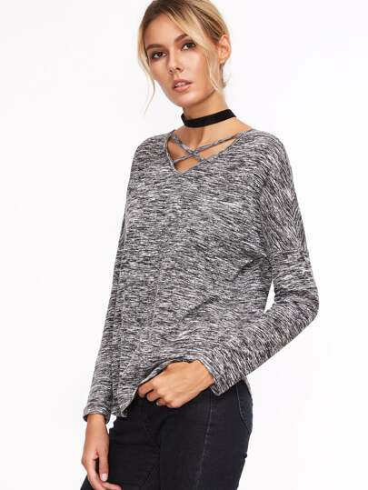 Grey Marled Knit Strappy Double V Neck T-shirt