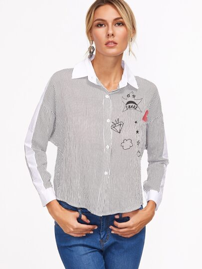 Vertical Striped Embroidered Shirt