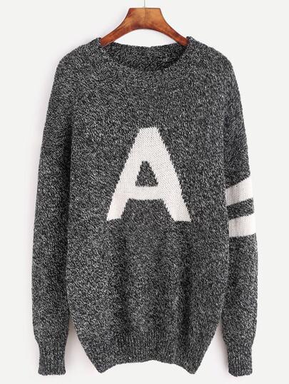 Black Varsity Pattern Drop Shoulder Sweater