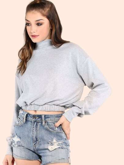 Scrunched Waist Turtleneck Pullover HEATHER GREY