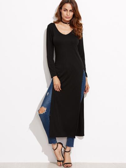 lange T-shirt -schwarz