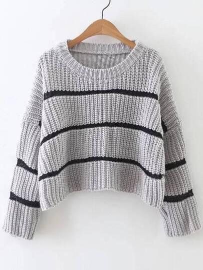 Grey Striped Drop Shoulder Sweater