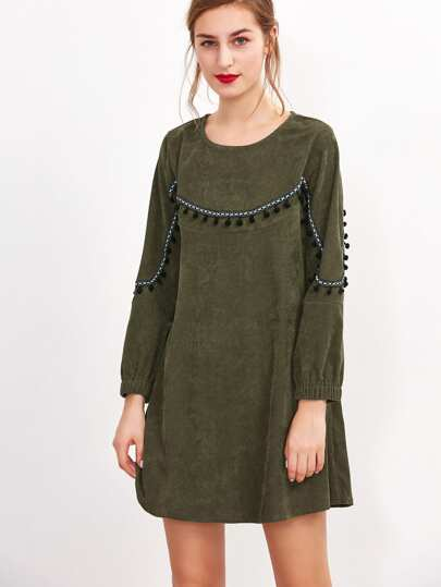 Army Green Corduroy Pom Pom Dress
