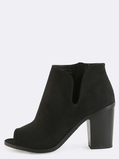 Peep Toe Suede Ankle Boots BLACK