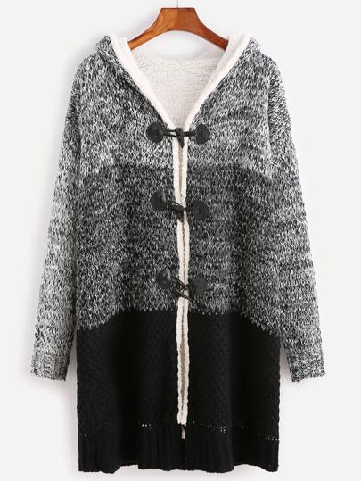Manteau pull manche longue avec capuche