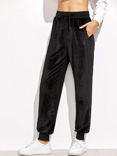 Black Drawstring Waist Velvet Sweatpants
