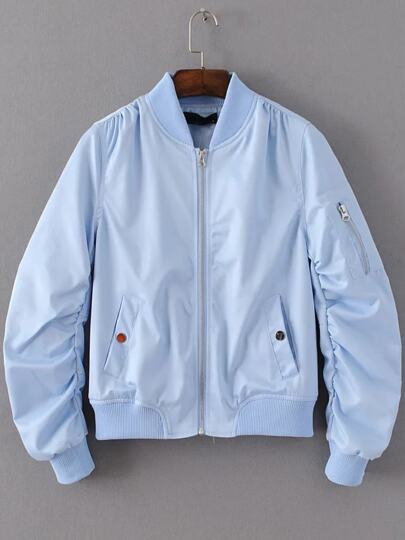 Blue Zipper Up Flight Jacket With Pockets