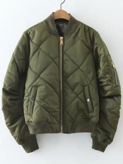 Army Green Diamond Pattern Quilted Jacket