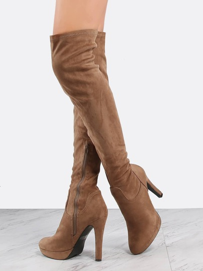 Thigh High Suede Platform Boots TAUPE
