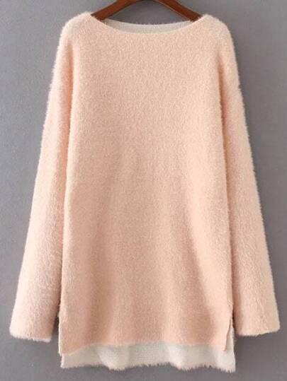 Pink Drop Shoulder Side Slit Sweater