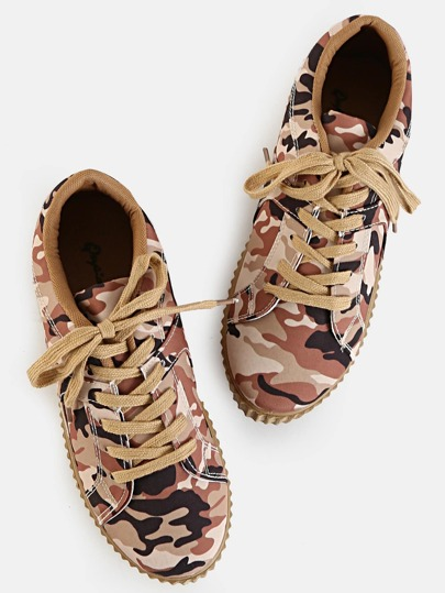 Round Toe Camouflage Sneakers CAMEL