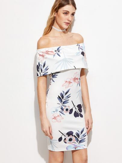White Floral Foldover Off The Shoulder Sheath Dress