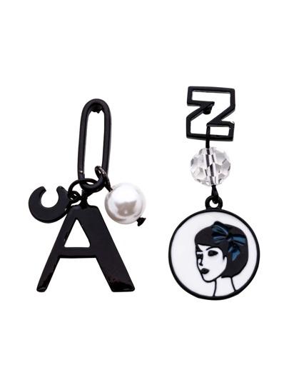 Black Faux Pearl Multi Shape Asymmetrical Earrings