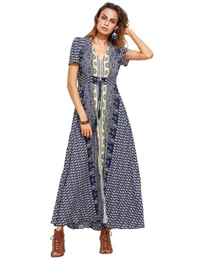 Blaue Stammes- Druck Fransen Detail aufgeteilte vordere Kleid