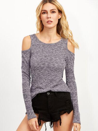 Grey Marled Knit Cold Shoulder Ribbed T-shirt