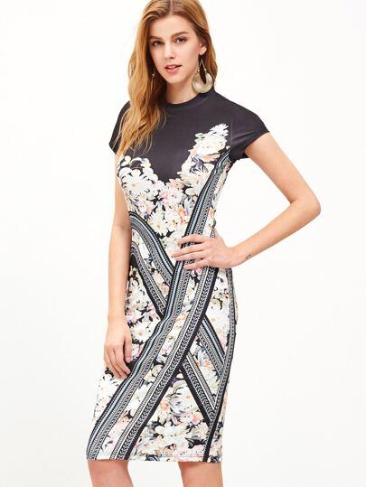 Multicolor Floral Cap Sleeve Sheath Dress