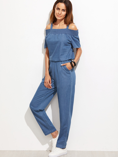 Blue Cold Shoulder jumpsuit With Pocket