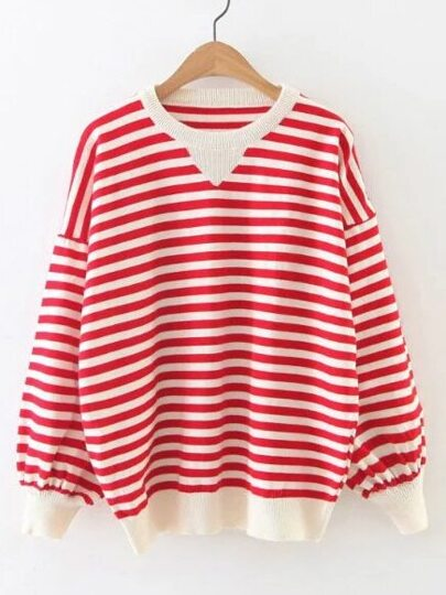 Contrast Striped Drop Shoulder Lantern Sleeve Sweater