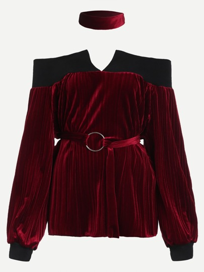 Contrast Trim Self Tie Velvet Sweatshirt With Choker
