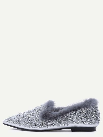 Chaussons en fausse fourrure bout pointu avec paillette - argenté