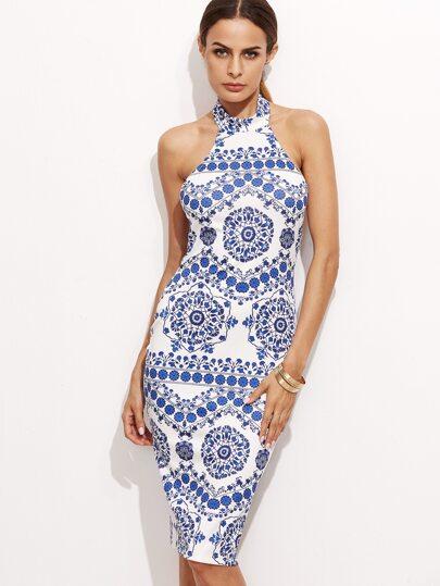 Blue And White Porcelain Halter Neck Dress