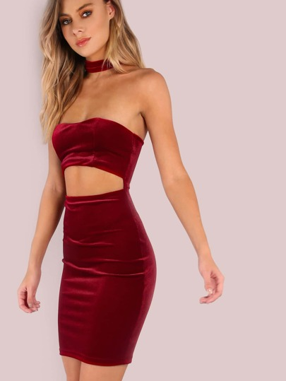 Velvet Mini Peakaboo Midriff Attached Choker Neck Bodycon Dress WINE