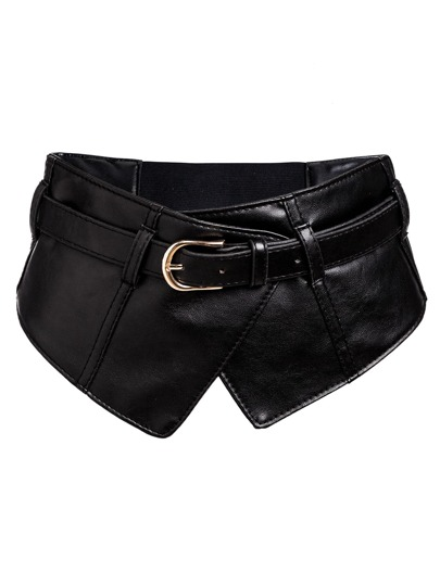 Black Faux Leather Buckled Wide Waist Belt