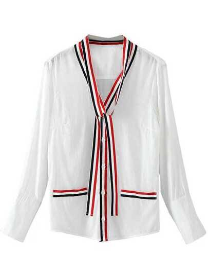 White Striped Trim Blouse With Tie