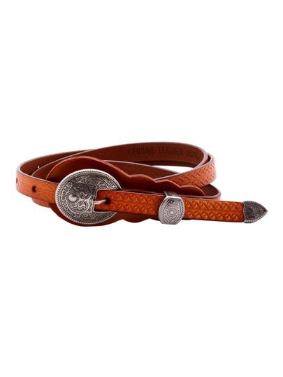 Brown Vintage Carved Buckle Knurling Skinny Belt