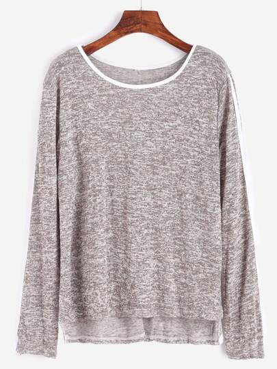 T-Shirt Asimmetrico Rifilato A Strisce