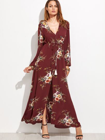 Burgundy Rose Print Drawstring Maxi Dress