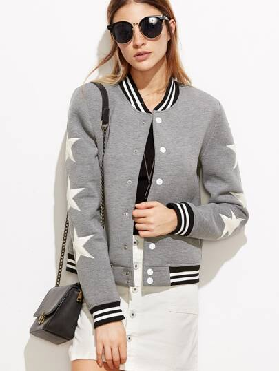 Heather Grey Striped Trim Star Patch Baseball Jacket